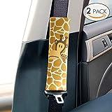 Sundell 2 Stück Giraffe Gurtpolster Kinder - Gurtpolster Kinder Auto Schulterpolster Autositze Gurtschutz Gürtelkissen Abnehmbar Komfort Schlafkissen für Kinder und Erwachsene