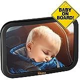 TDP24 Rücksitzspiegel für Babys - (24,5x17,5 cm) Schwarz - bewährte Sicherheit durch großes Sichtfeld - Spiegel Auto Baby + E Book