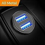 Auto Ladegerät, Metall Mini USB Auto Adapter 12V/ 24V KFZ Ladegerät 2-Port 24W 5V / 4.8A mit Aluminium-Legierung Gehäuse für iPhone XR/Xs Max, Samsung Galaxy S8, Huawei Und mehr (Schwarz)-MEHRWEG