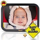 TDP24 Autospiegel Baby I Rückspiegel Baby Auto - Bruchsicherer Rücksitzspiegel für Babys I Spiegel Auto Baby I Baby on board Schild + E-Book I Größe 24,5 x 17,5 cm I Farbe Schwarz