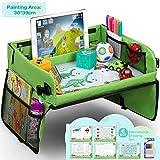 Lenbest Kinder Reisetisch Kindersitz Spiel und Knietablett Reisetisch, Multifunktional Einstellbar Esstisch Spieltisch Autositz mit 1 Transparenter Zeichnungsfilm + 5 Zeichenpapier + 6 Farbstifte