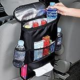 Kühltasche Auto Rücken Organizer mit Mesh Taschen Auto Sitz Mehrzwecktaschen Reisen praktischen Aufbewahrungsbeutel Getränkehalter Kühler für Autositz Netztasche & Becherhalter (1 Stück)