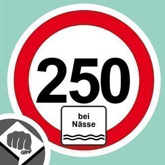 Autoaufkleber Tempolimit 250 km/h bei Nässe