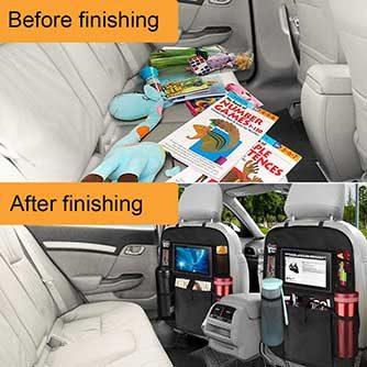 Aufgeräumtes und sauberes Auto mit Rückenlehnenschutz mit integriertem Organizer.
