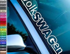 Autoaufkleber mit dem Schriftzug Volkswagen
